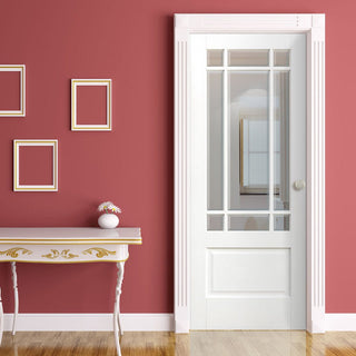 Image: Downham Door - Bevelled Clear Glass - White Primed
