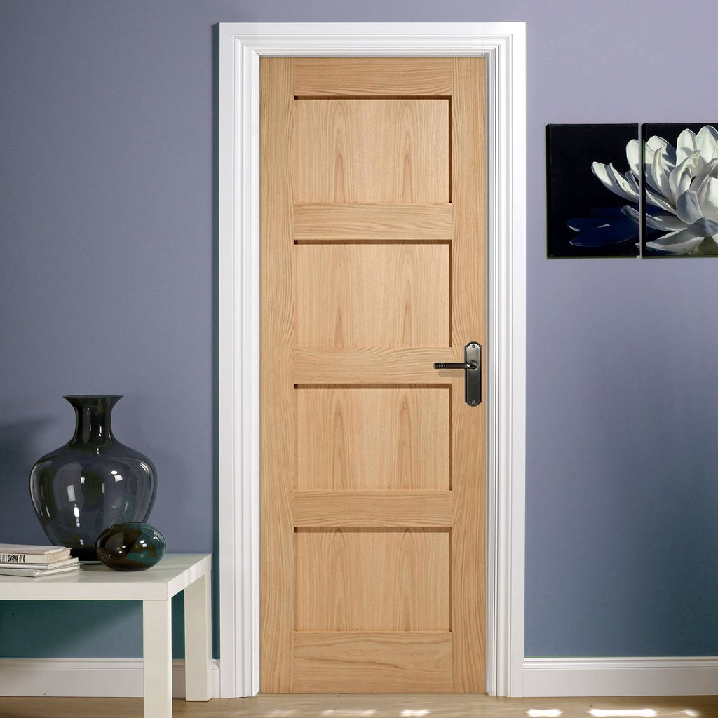 Fire Door, Contemporary 4 Panel Oak - 1/2 hour Fire Rated.