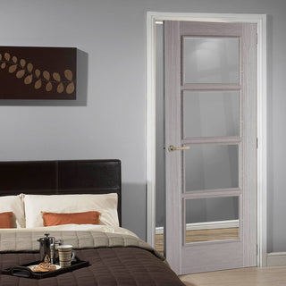 Image: Light Grey Vancouver Door - Clear Glass - Prefinished