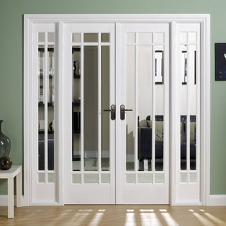 Image: W6 Manhattan Doors & Frame Set - Bevelled Clear Glass - White Primed