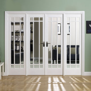 Image: W8 Manhattan Doors & Frame Set - Bevelled Clear Glass White Primed