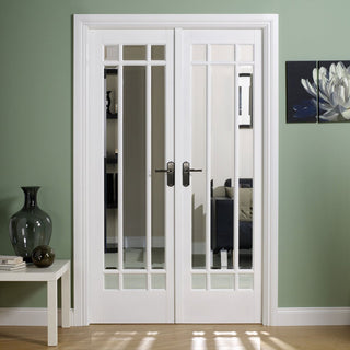 Image: W4 Manhattan Doors & Frame Set - Bevelled Clear Glass White Primed