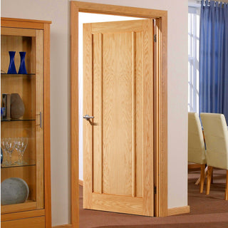 Image: Door and Frame Kit, Lincoln Oak 3 Panelled Door