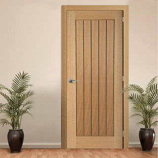 Image: Door and Frame Kit, Mexicano Oak Door - Vertical Lining