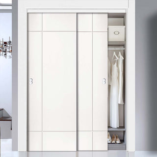 Image: Thruslide Limelight Lyric White Primed Flush 2 Door Wardrobe and Frame Kit