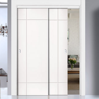 Image: Two Sliding Doors and Frame Kit - Lyric White Primed Flush Door