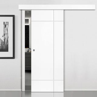 Image: Thruslide Surface Limelight Lyric White Primed Flush Sliding Door and Track Kit
