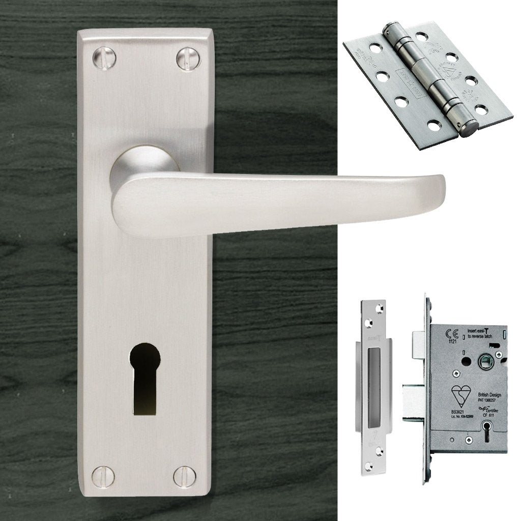 M30 Victorian Suite Lever Lock Satin Chrome Handle Pack