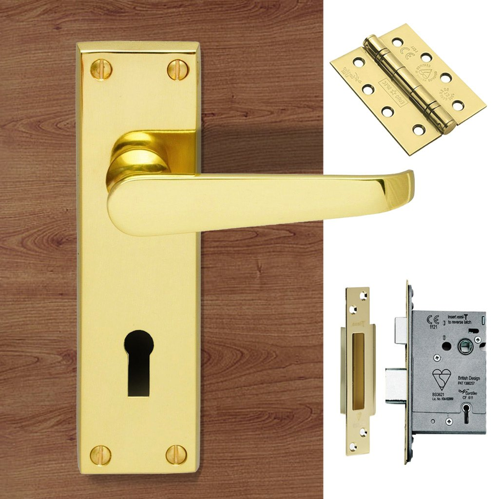 M30 Victorian Suite Lever Lock Polished Brass Handle Pack