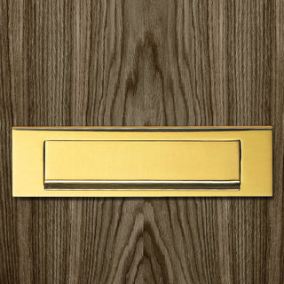 Image: M36G Letter Plate, Gravity Flap, 270x73mm Polished Brass