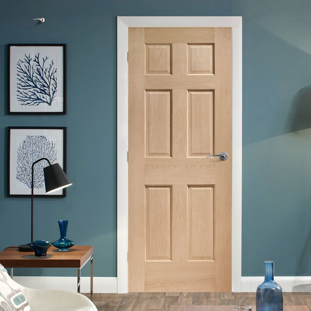 Traditional English Colonial style interior oak panelled door