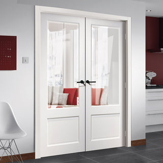 Image: Madison White Primed Door Pair - Clear Bevelled Glass