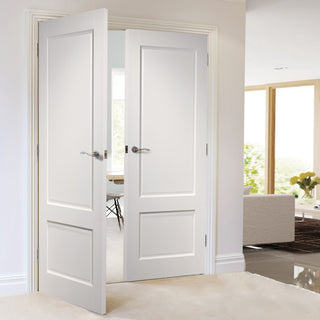 Image: Madison White Primed Panel Door Pair