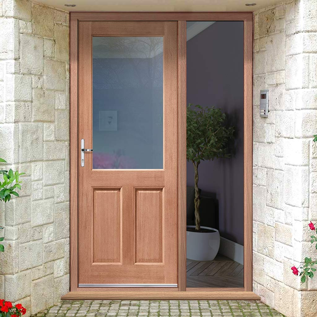 2XG External Mahogany Dowelled Door and Frame Set - Clear Double Glazing - One Unglazed Side Screen