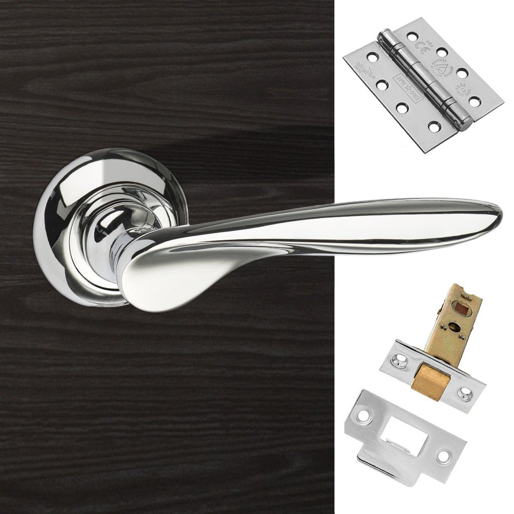 Malta Mediterranean Fire Lever on Round C Rose - Polished Chrome Handle Pack