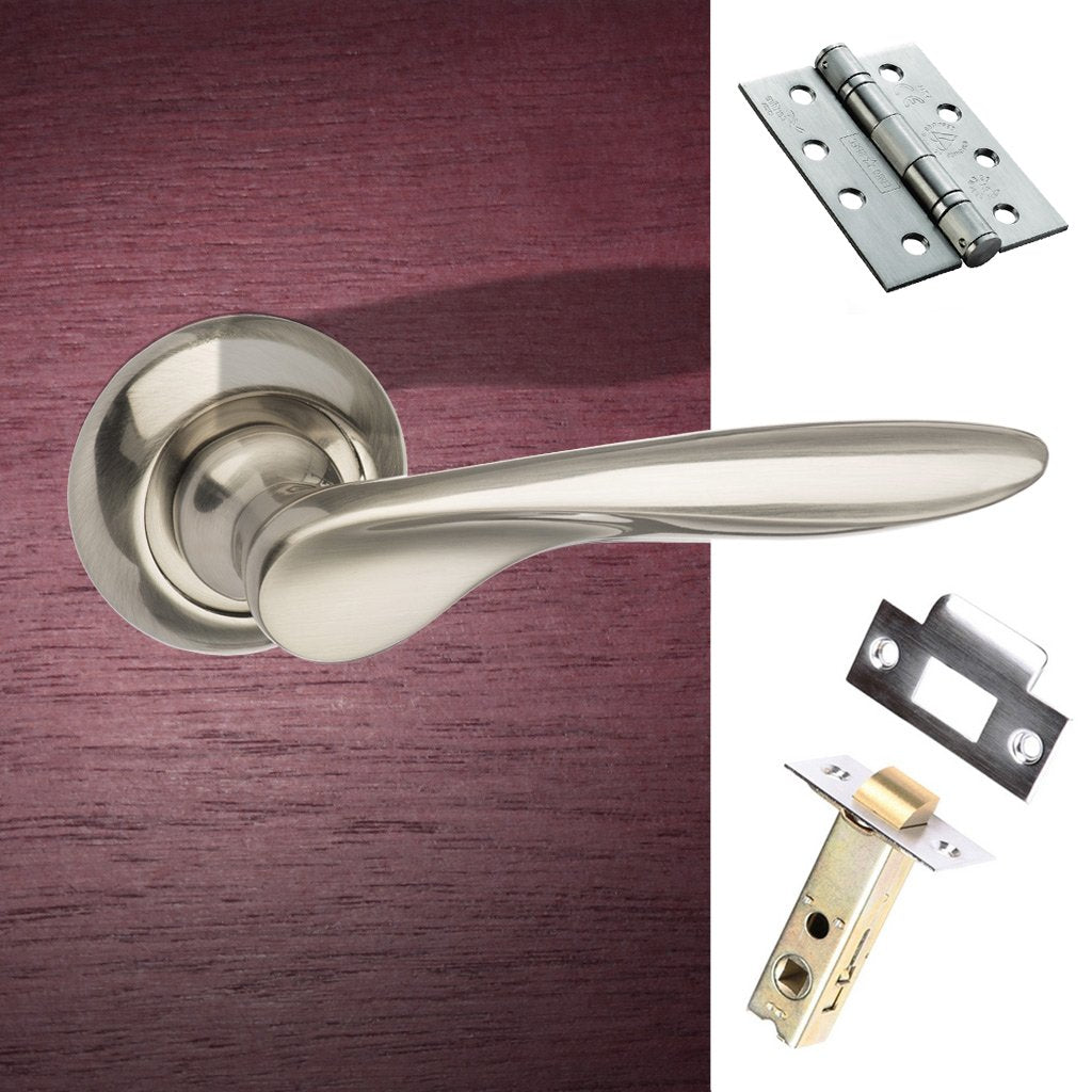 Malta Mediterranean Fire Lever on Round C Rose - Satin Nickel Handle Pack