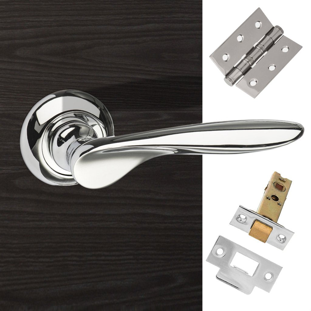 Malta Mediterranean Lever on Round C Rose - Polished Chrome Handle Pack