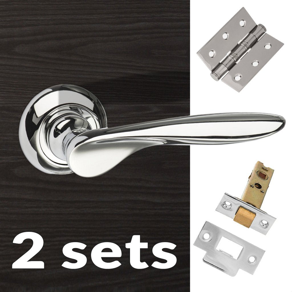Two Pack Malta Mediterranean Lever on Round C Rose - Polished Chrome Handle