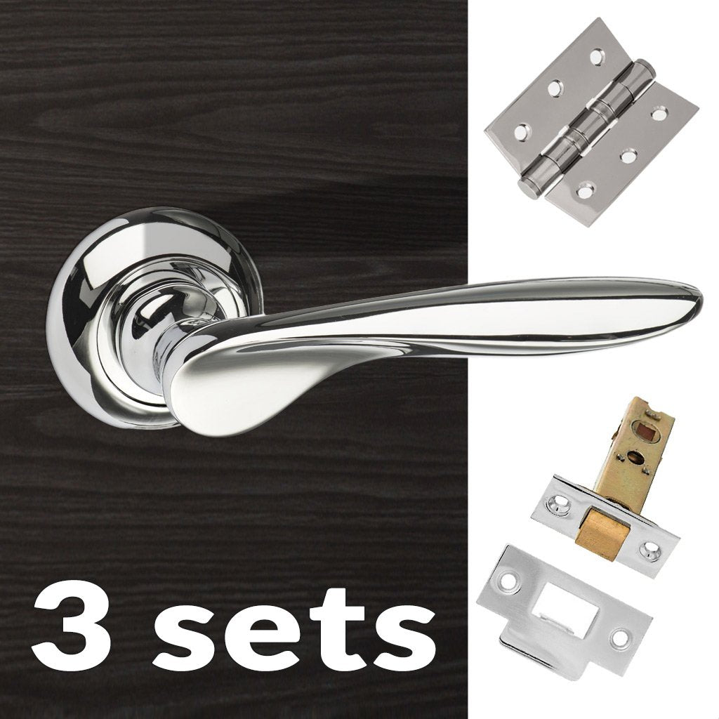 Three Pack Malta Mediterranean Lever on Round C Rose - Polished Chrome Handle