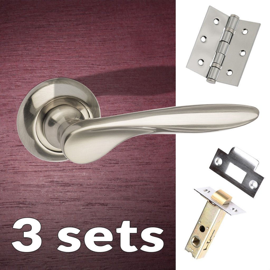 Three Pack Malta Mediterranean Lever on Round C Rose - Satin Nickel Handle