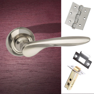 Image: Malta Mediterranean Lever on Round C Rose - Satin Nickel Handle Pack
