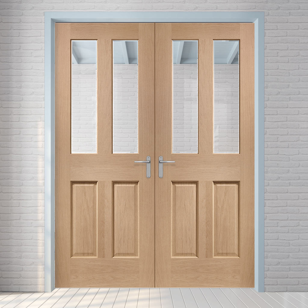 Malton Oak Door Pair - Bevelled Clear Glass - No Raised Mouldings