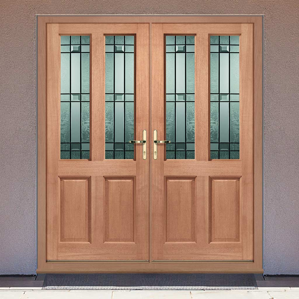 Malton External Mahogany Dowelled Double Door and Frame Set - Drydon Pattern Double Glazing