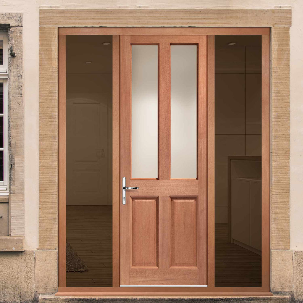 Malton External Hardwood Door and Frame Set - Frosted Double Glazing - Two Unglazed Side Screens, From LPD Joinery