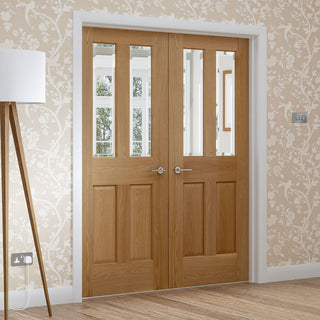 Image: Malton Oak Door Pair - Bevelled Clear Glass
