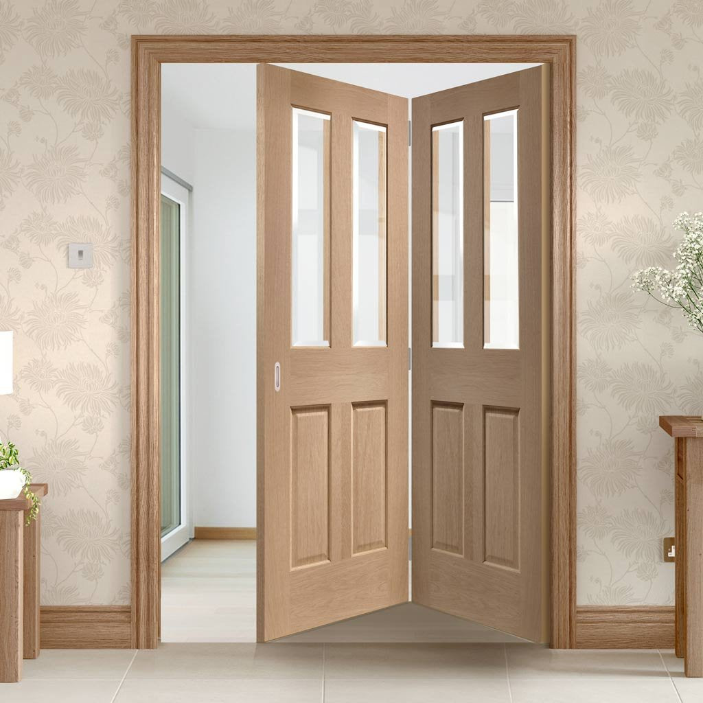 Two Folding Doors & Frame Kit - Malton Oak 2+0 - Bevelled Clear Glass - No Raised Mouldings - Unfinished