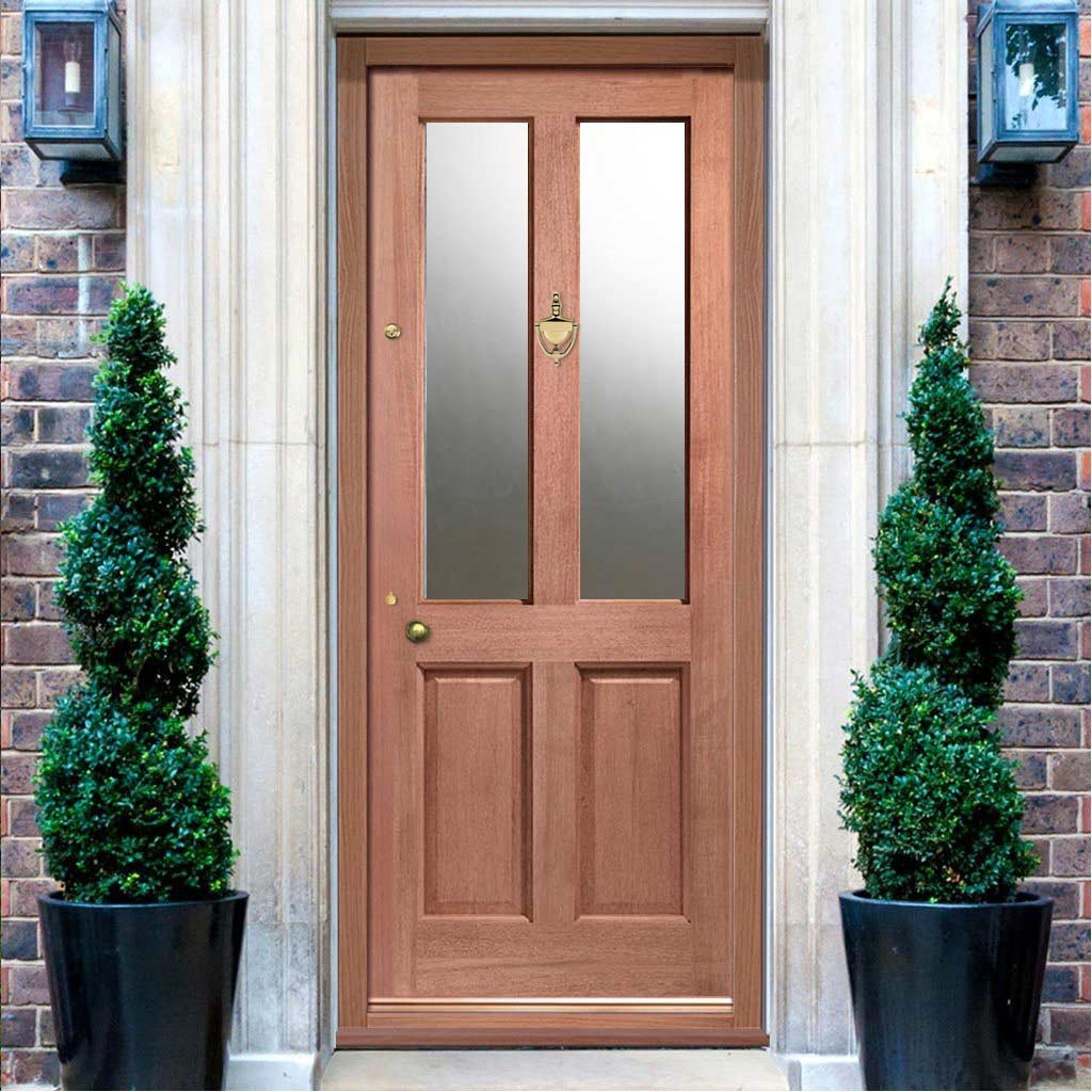 LPD Malton External Mahogany Door - Frosted Double Glazing