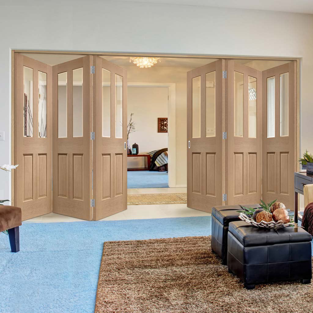 Six Folding Doors & Frame Kit - Malton Oak 3+3 - No Raised Mouldings - Bevelled Clear Glass - Prefinished