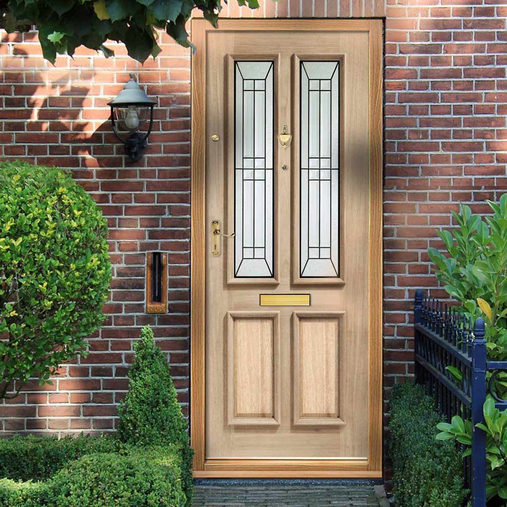 Malton Oak Door - Diamond Style Black Caming Tri Glazing