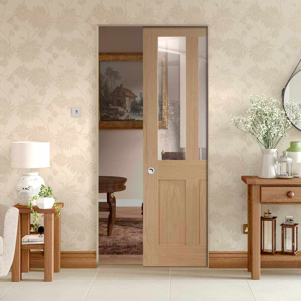 Malton Oak Shaker Absolute Evokit Pocket Door - Clear Glass