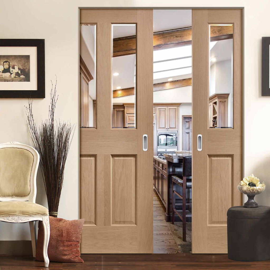 Malton Oak Absolute Evokit Double Pocket Door - No Raised Moulding - Bevelled Clear Glass - Prefinished
