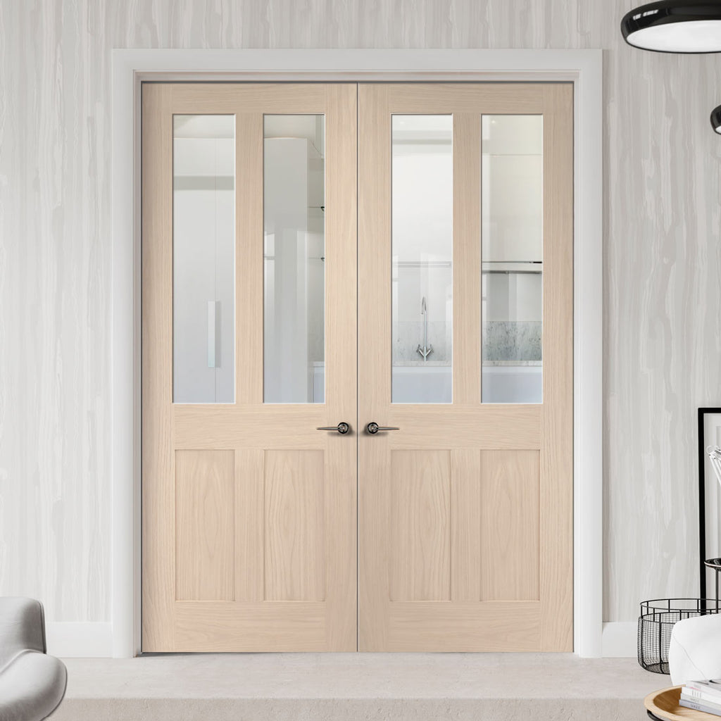 Prefinished Malton Oak Shaker 2P & 2 Pane Door Pair - Clear Glass - Choose Your Colour