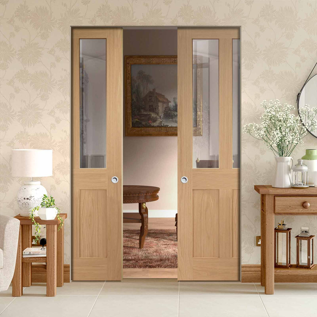 Malton Oak Shaker Absolute Evokit Double Pocket Door - Clear Glass