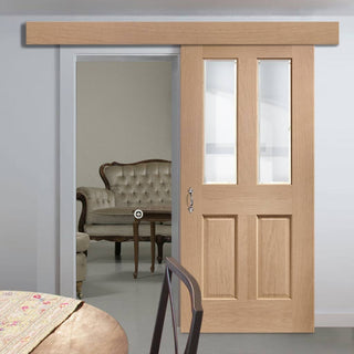 Image: Bespoke Thruslide Surface Malton Oak Glazed - Sliding Door and Track Kit