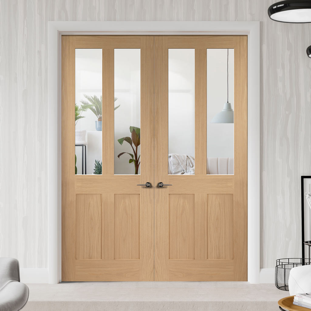 Malton Oak Shaker 2 Pane & 2 Pane Door Pair - Clear Glass