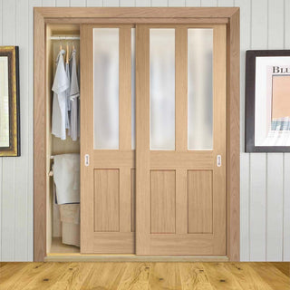 Image: Bespoke Thruslide Malton Oak Shaker 2L Glazed 2 Door Wardrobe and Frame Kit
