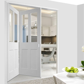 Image: Two Folding Doors & Frame Kit - Malton Shaker 2+0 - Clear Glass - White Primed