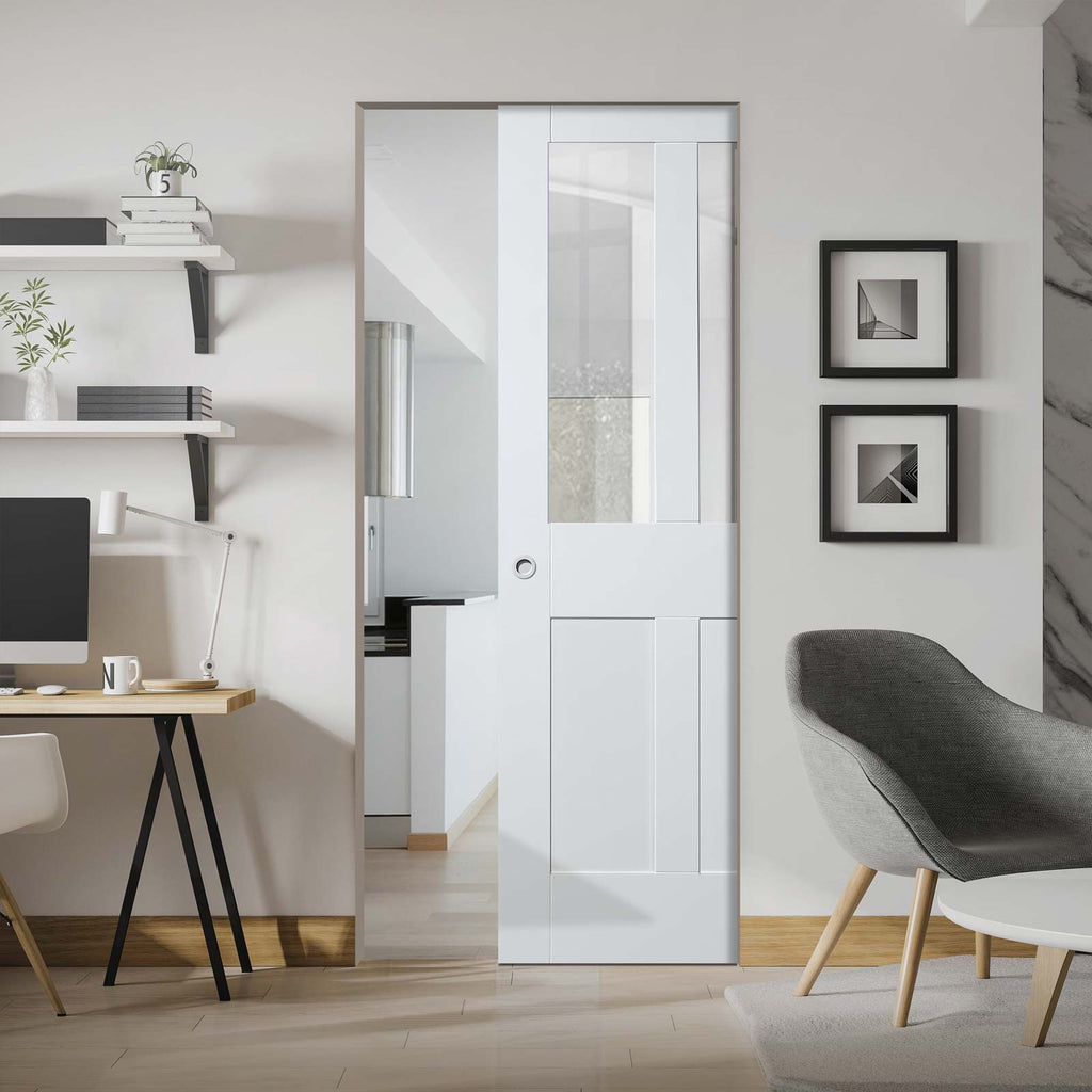 Malton Shaker Absolute Evokit Pocket Door - Clear Glass - Primed