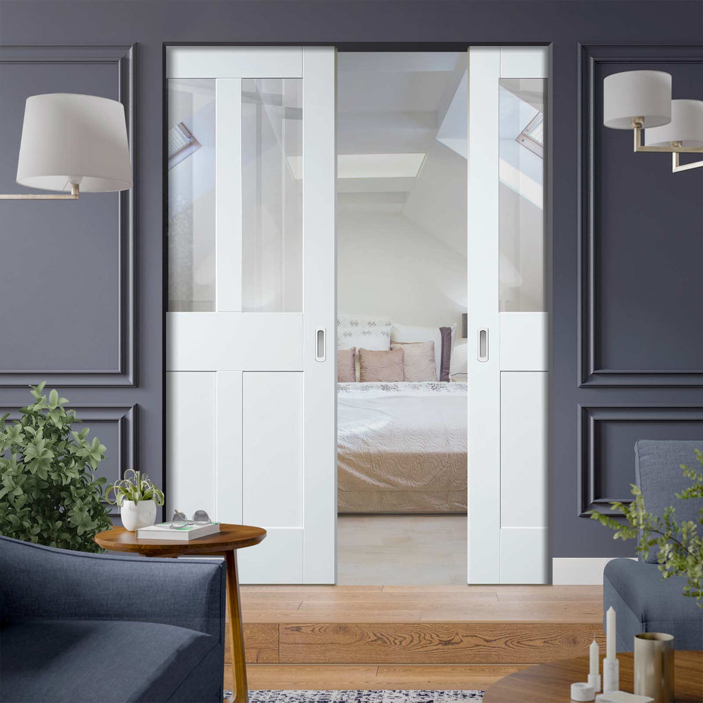 Malton Shaker Absolute Evokit Double Pocket Door - Clear Glass - Primed