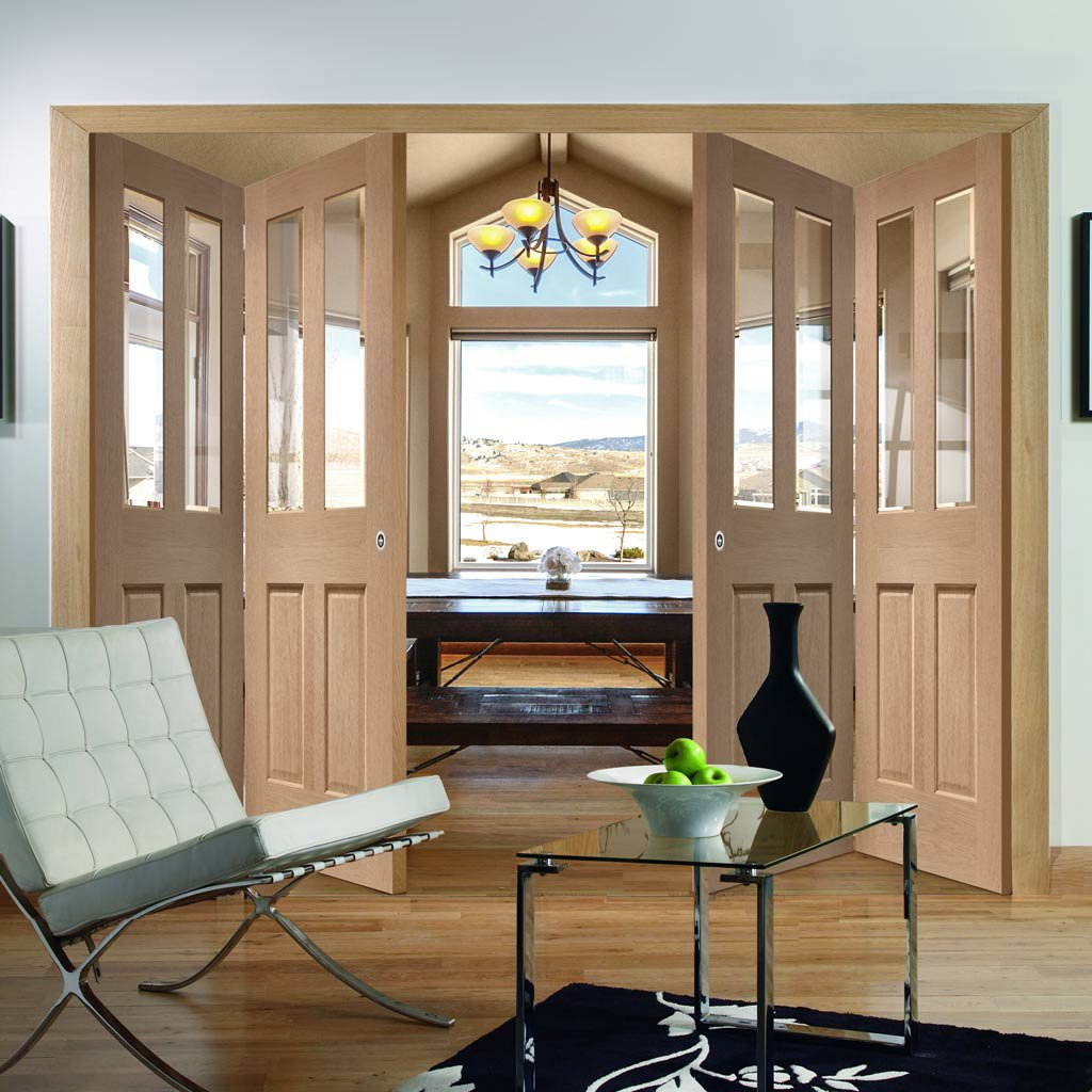 Bespoke Thrufold Malton Oak Glazed Folding 2+2 Door - No Raised Mouldings