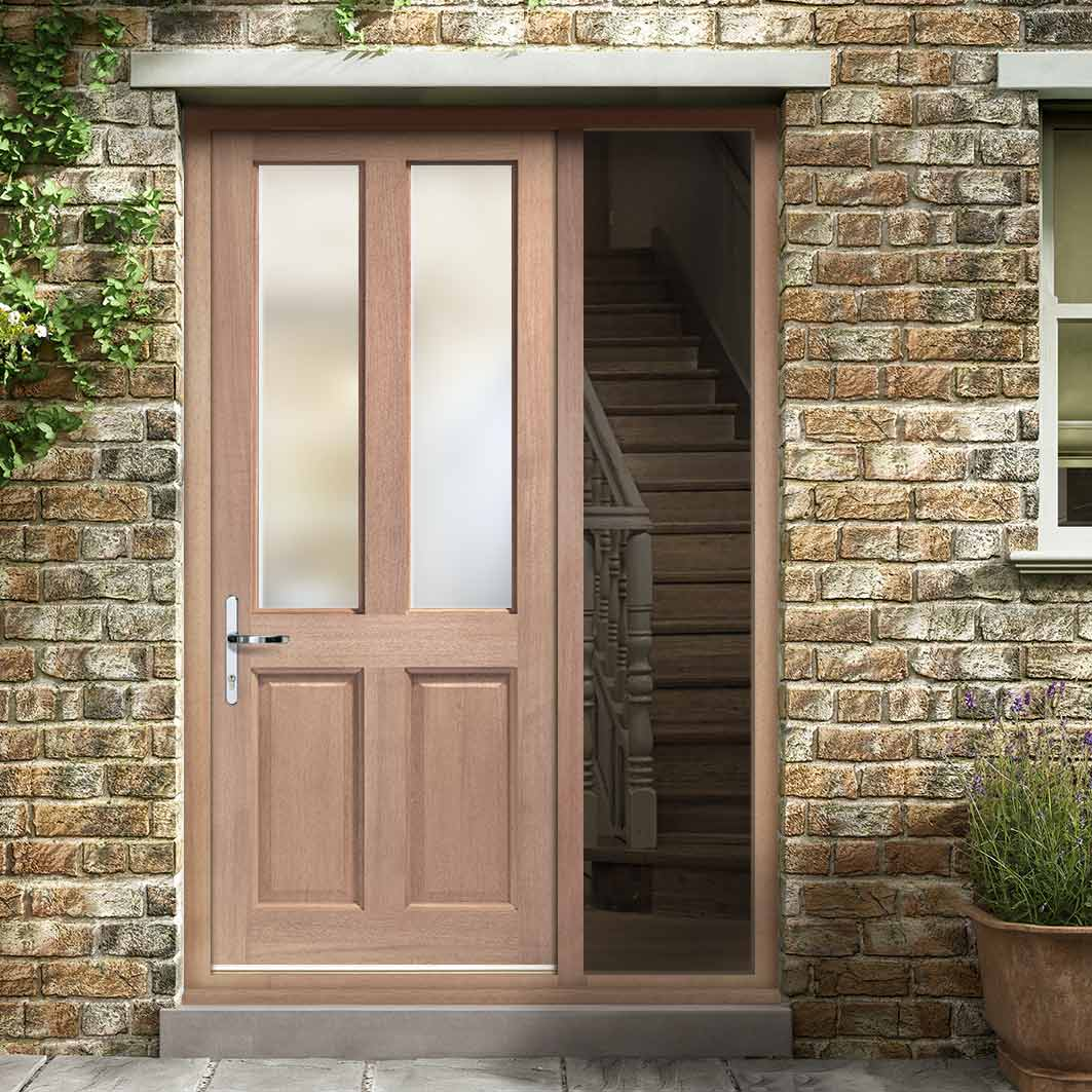 Malton External Hardwood Door and Frame Set - Frosted Double Glazing - One Unglazed Side Screen