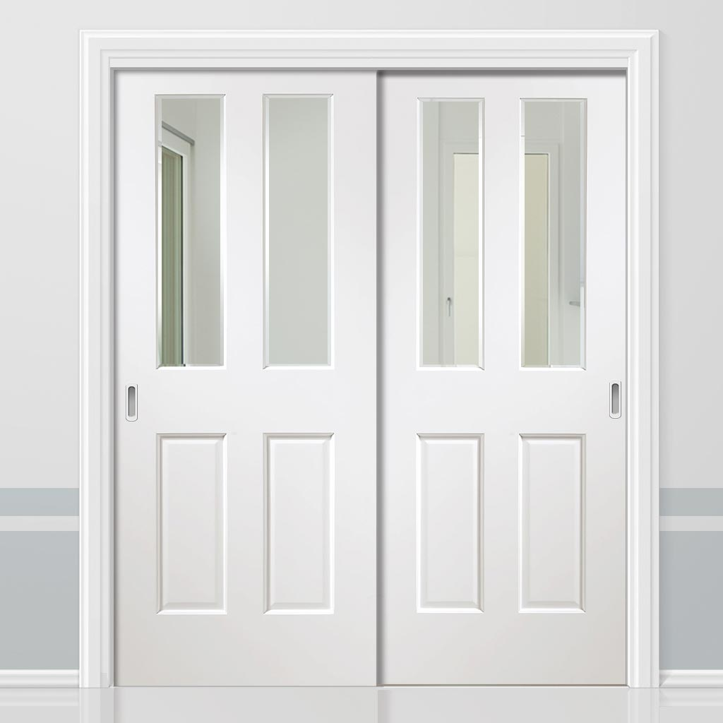 Two Sliding Doors and Frame Kit - Malton White Door - Clear Bevelled Glass - Prefinished
