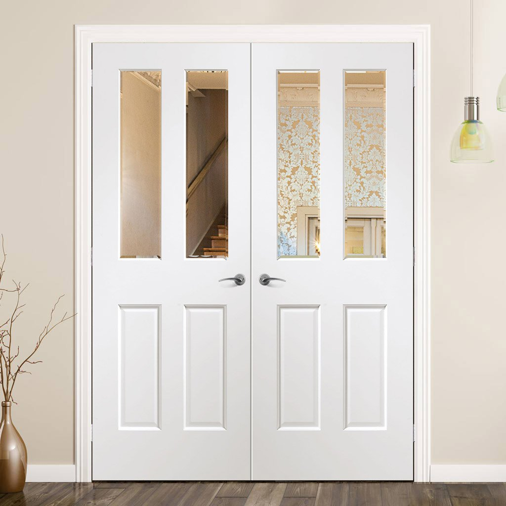 Malton White Door Pair - Clear Bevelled Glass - Prefinished