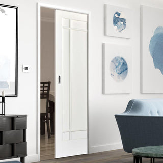 Image: Manhattan 9 Panel Single Evokit Pocket Door - White Primed