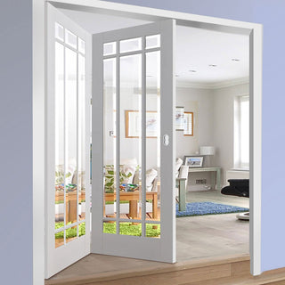 Image: Two Folding Doors & Frame Kit - Manhattan 2+0 - Bevelled Clear Glass - White Primed