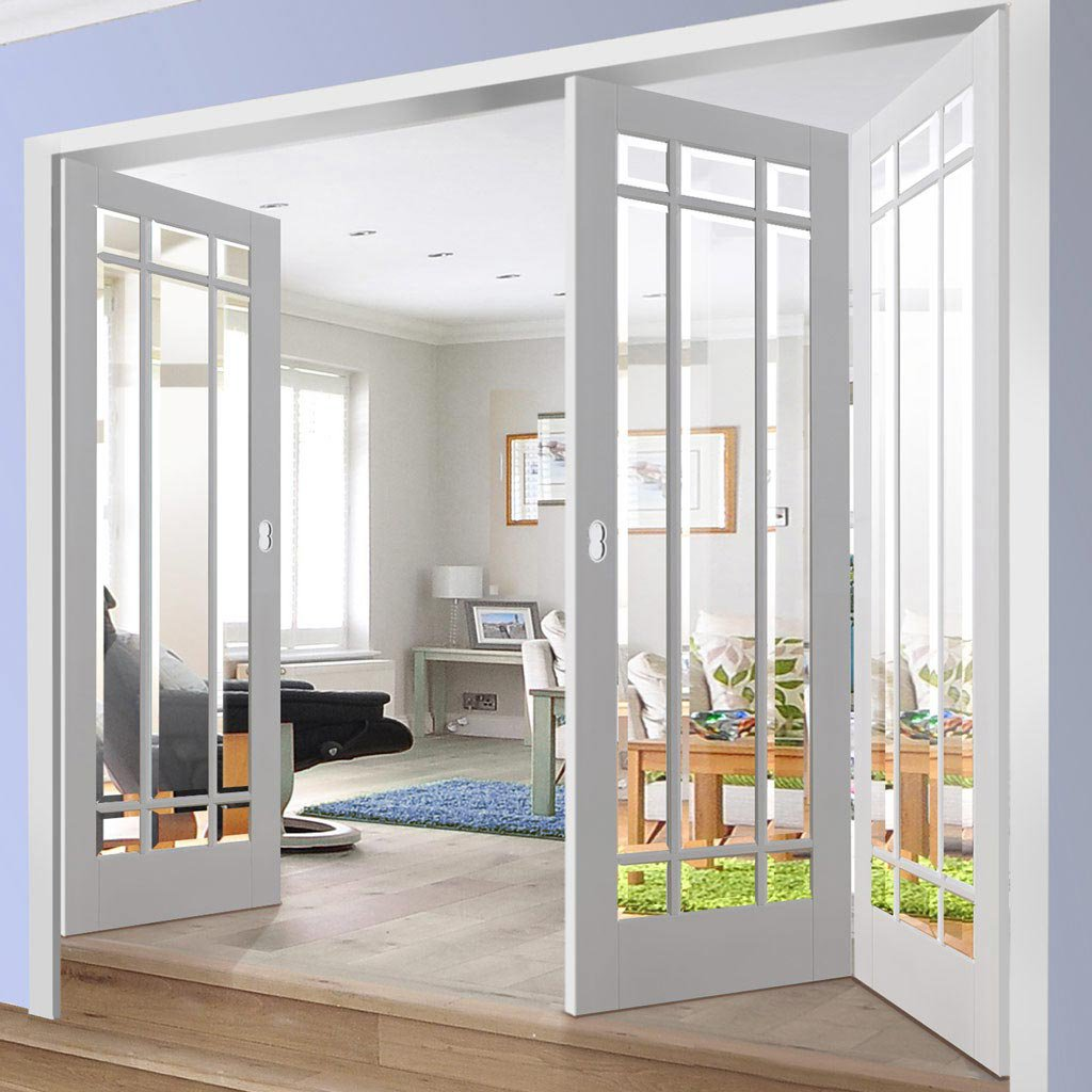 Three Folding Doors & Frame Kit - Manhattan 2+1 - Bevelled Clear Glass - White Primed